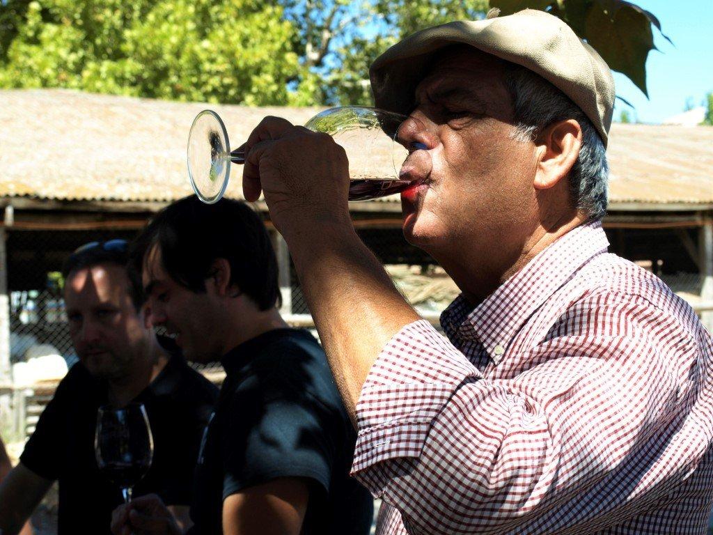 Cata en la Bodega Alchemy. En primer plano, D. León, dueño del viñedo. Al fondo los jóvenes enólogos. / © A. F. Reca